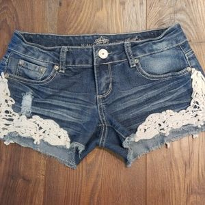 Distressed Shorts w/ Lace